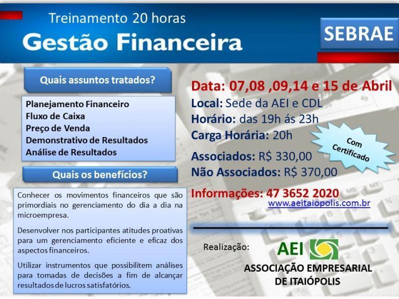 Curso de Gestão Financeira do SEBRAE em Itaiópolis