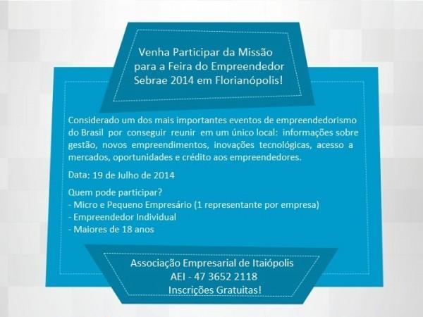 Participe da Feira do Empreendedor do SEBRAE em Florianópolis
